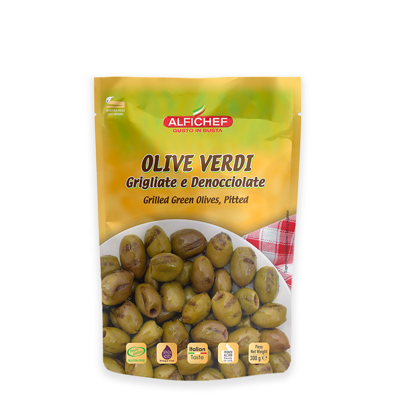 Grilled and pitted green olives 300g