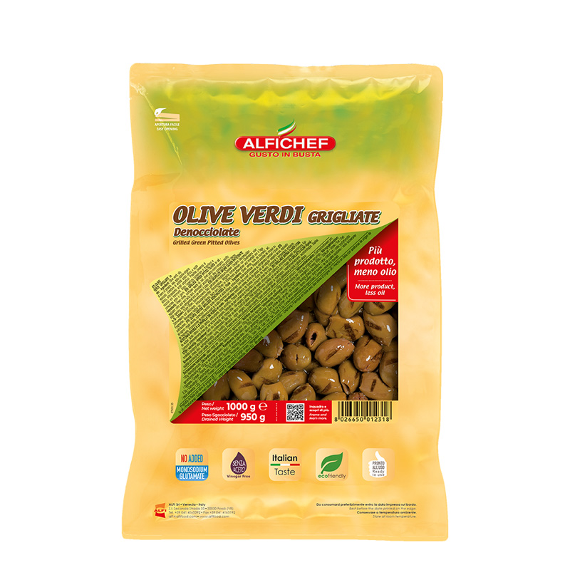 Grilled and pitted green olives 1000g